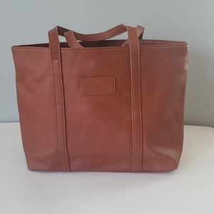Zin Snow Brown Leather Office or School Tote Bag